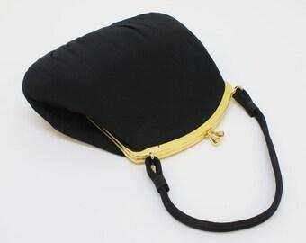 40's / 50's Vintage Black Bag / Gathered Fabric Purse / Clip Top Evening Bag / Small Formal Handbag