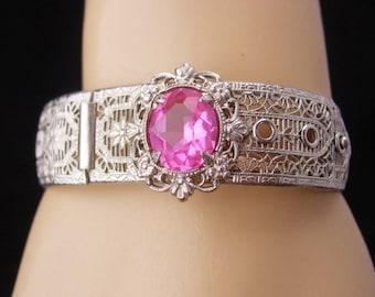 Vintage Art Deco Bracelet / silver filigree bangle / buckle bracelet / pink jeweled bangle / hinged estate jewelry / anniversary gift