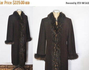25% OFF Brown Fox Fur Lambs Wool Coat / Marvin Richards / Small