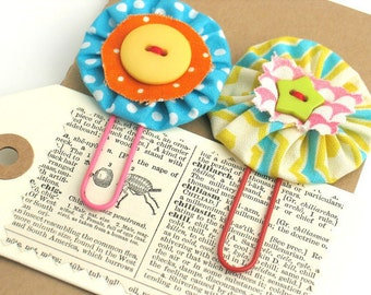 Fabric Yoyo Flower Handmade Daily Planner Clips / Bookmark Paper Clips / Journal Clips / Jumbo Paper clip / Teacher Gift / Birthday Gift