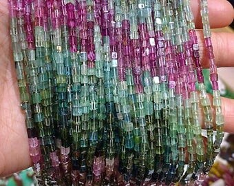 "Organic Look Natural Gemstone Pink Green Blue Watermelon Tourmaline Polished Crystal Brick Cube Nugget Beads 8"" strand"