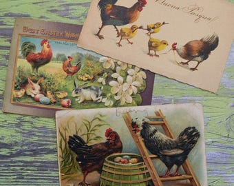 Antique Easter Postcards Roosters Hens Chicks Rabbits Italy Germany
