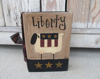 Primitive Country Americana Liberty Sheep Hand Painted Vintage Book GCC00768