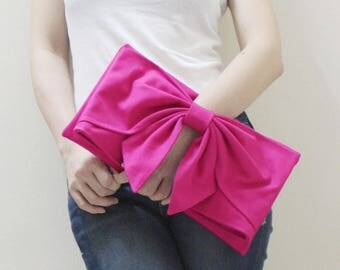 Foldover, Clutch Bag, Bow Clutch, Dinner Bag, Wristlet, Wedding gift, Gift For Bridesmaids, Gift Ideas For Women - BOW Clutch - SALE 30% OFF