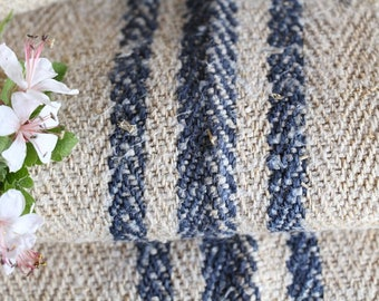 R 652 A: antique hemp french 천 Faded ROYAL BLUE upholstery 4.37 yards handloomed  benchcushion Beachhouse look,upholstery project, bag, gift