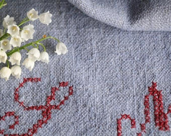 E 244 antique  grain sack; 리넨; RARE PASTEL BLUE ,  upholstery fabric 38.58long french lin, wedding, tablerunner, grainsack, doityourself