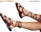 SALE - 30% OFF Brown Gladiator Leather Sandals for Men & Women (Triple Design) - Handmade Unisex Sandals, Jesus Sandals, Genuine Leather San