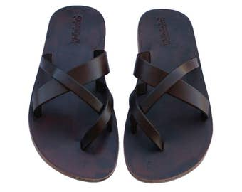 Dark Brown Comply All Leather Sandals For Men & Women - All Leather Soles - Handmade Unisex Sandals, Jesus Sandals, Genuine Leather Sandals