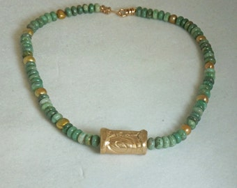 African Jade Necklace, Gold Necklace, Bronze Necklace, Statement Necklace, Pearl Necklace, Bold Necklace, Free Shipping