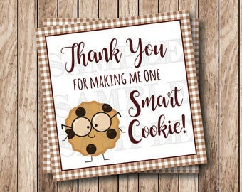Instant Download . Printable One Smart Cookie Tags . Thank You For Making Me One Smart Cookie Tags, Printable Thank You Tags, Brown Gingham
