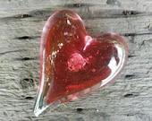 Cranberry Pink Glass Hear...