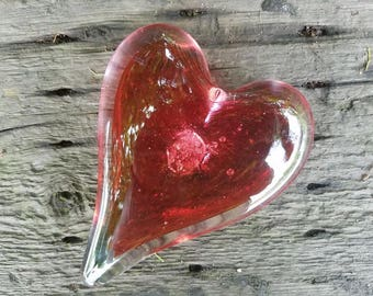"""Cranberry Pink Glass Heart with Bubble Burst Center, Solid Heart-Shaped 5"""" Paperweight Sculpture, Appreciation Gift, By Avalon Glassworks"""