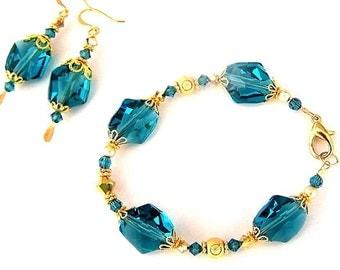 Teal bracelet and earrings, blue green Swarovski crystal, Swarovski Indicolite crystal and gold filled jewelry set