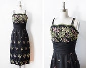 RESERVED until 3/31 50s black floral dress, vintage 1950s dress, black dress with sheer jacket, extra small xs