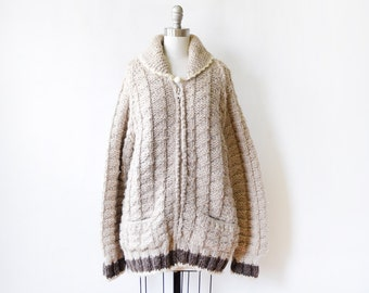 chunky wool sweater, vintage sweater coat, thick zip up sweater cardigan coat, large/xl