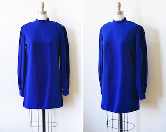 blue velvet mini dress, vintage 60s velvet dress, 1960s mod mini dress, small s