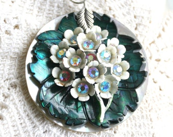 Pendant Necklace -Mother of pearl Base, Green Mother of Pearl Flower Metal Bouquet of AB crystals 925 Chain