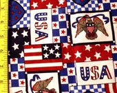 PATRIOTIC Quilt & Craft Fabric 1/4 Yard 100% Cotton Sewing Home Decor