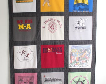DIY Kit - T Shirt Quilt KIT- Blanket Kit - 12 Block - Red Black Brown Blue
