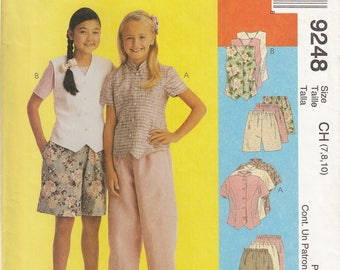 McCall's Uncut Sewing Pattern 9248 Girls top, vest, pants and shorts - size CH (7, 8, 10)