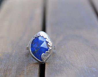 Sterling Silver Lapis Lazuli Ring, Oxidised Metalwork Ring, Statement Gemstone Ring - Fern Ring in Lapis