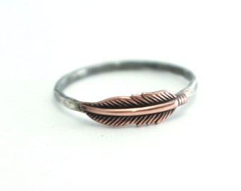 Feather Ring, Hipster Ring, Stack Ring, Stack Band, Sterling Silver, Bohemian, Copper Feather Ring,Feather Stack Ring,Silver Ring Boho Ring