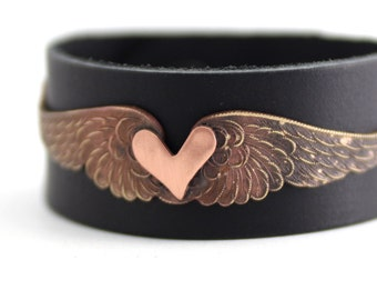 Angel Wing Cuff Bracelet, Black Leather Cuff, Copper Heart Bracelet, Valentines Day Cuff, Love Bracelet, Womens Cuff, Rocker Cuff