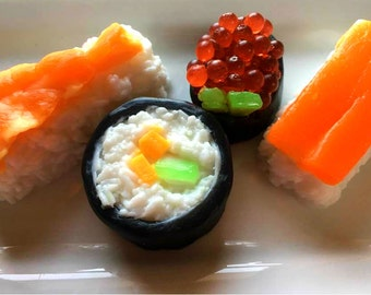 Sushi Soap Set - Food Soap, Gag Gift, Shrimp Soap, California Roll, Salmon Roll, Novelty Soap, Fake Food Soap, Sashim, Nigirii