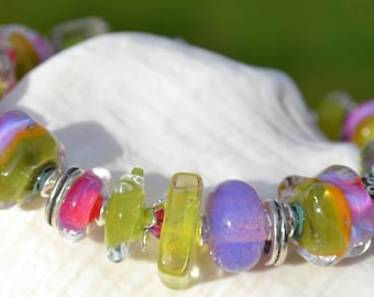 JUICY-Handmade Lampwork and Sterling Silver Bracelet