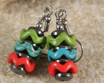 Southwestern Color Magnestie Chevron Earrings