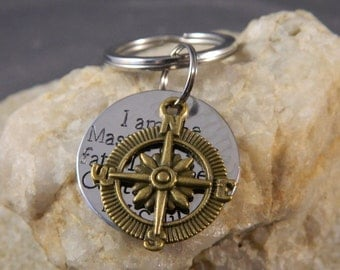 I Am the Master of my Fate, I am the Captain of my Soul with Compass Handstamped Keychain