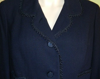 M L Petite Boxy 50s 60s Cambrooke Exclusive Dark Blue almost Black Wool Blazer Jacket Suit Jacket Mad Men