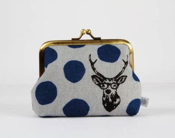 Metal frame change purse - Samber deer in blue and gray - Deep dad / Echino Japanese fabric / Navy grey black