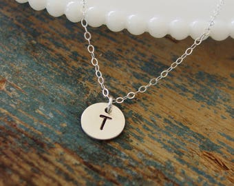 Tiny Initial Necklace,Sterling Silver Necklace,Personalized Jewelry,Hand Stamped,Initial Necklace,Tiny Disc Necklace,Everyday,Gift For Her