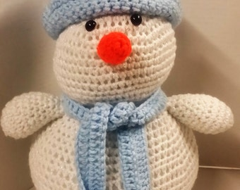 Snowman/Amigurumi Snowman/Amigurumi/Christmas Gift/Soft Toy/Plush Toy/Stuffed Snowman/Safe for Babies and Toddlers/Blue/White/Crocheted Toy