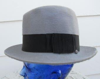 "Vintage 40s Bucket Fedora ""Tinto Grey""  Gray Fur Felt High Crown Hat 6 7/8"