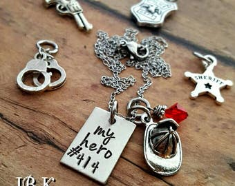 My hero necklace firefighter police officer deputy sheriff