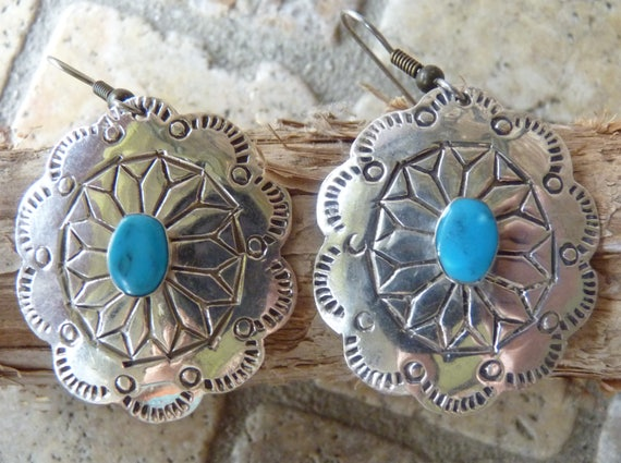 Sterling Silver Southwestern Earrings with Genuine Turquoise Vintage Sterling Silver Earrings
