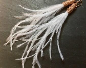 White Plume Earrings
