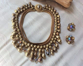 Vintage beaded bib goldtone exotic necklace clip earrings set, brushed gold bead necklace aurora borealis crystals, mesh  collar necklace