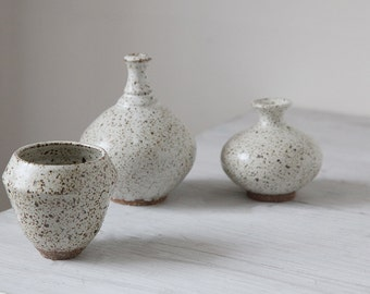Collection  of  3 Wheel Thrown Unique Stoneware Pieces with white speckled  glaze