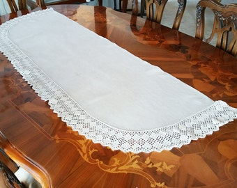 Vintage Runner with Crochet Border for Chest or Buffet