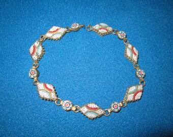 Antique Edwardian Beautiful Italian Micro Mosaic Diamond-Shaped Link Bracelet