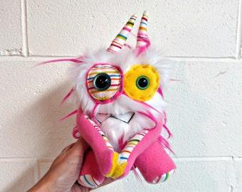 RESERVED for MichaelHansard Plush Monster - Handmade Monster Plush - OOAK Stuffed Monster - Hot Pink & White Faux Fur Monster - Hand Embroid