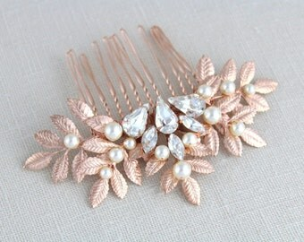 Rose gold hair comb, Bridal hair comb, Wedding headpiece, Leaf hair comb, Swarovski hair comb, Wedding hair accessories, Leaf headpiece