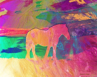 Horse Painting, Fine Art, Rainbow Colors, Southwestern Home Decor, Girl's Bedroom Equine, Pink Purple Wall Hanging, Giclee Print, 8 x 10