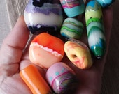 Polymer Clay beads, faux glass effect, raw bead, unfinishedcabochon, scrap beads