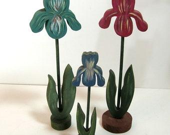 Wood Irises, Handmade Vintage Flowers