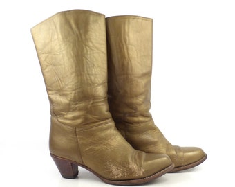 Gold Boots Vintage 1980s Copper Metallic Leather Women's size 7