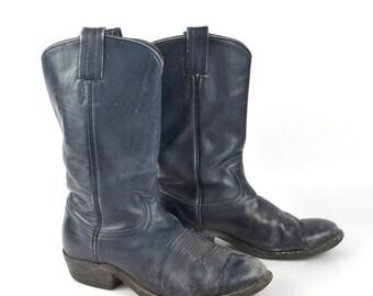 Cowboy Boots Vintage 1980s Tony Lama Distressed Blue Roper Leather Flat